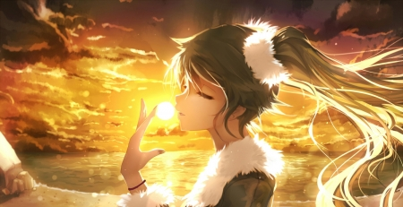 Sunset - girl, orange, anime, anime girl, sunset