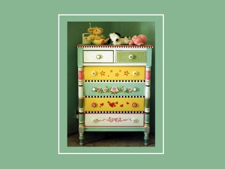 Pretty Chest of Draws for Nursery - art, nursery, cg, home, pastels, abstract, decor, furniture, 3d, craft, painting, aqua, style
