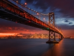 Sunset over Oakland Bay Bridge in San Francisco