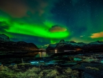 Northen Lights over mountains