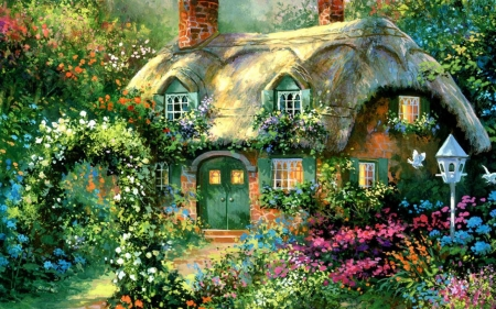 Rose Garden Cottage Houses Amp Architecture Background