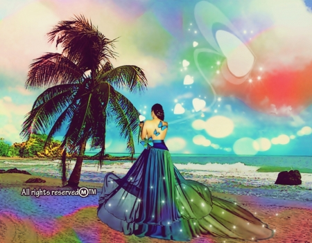 Life's Beauty - her, freedom, trees, clouds, sea, waters, choices, love, admiration, scenery