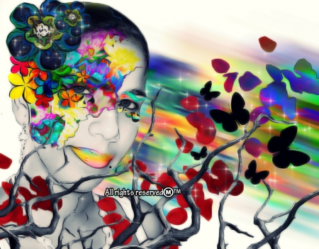 Admiration - rainbows, her, life, love, flowers, colors, freedom, petals