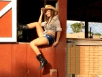 Cowgirl At The Barn
