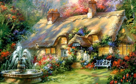 Merrywater manor - architecture, house, cottage, painting, manor
