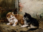 Tug of War - cute painting kittens