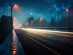 Road on a Rainy Night