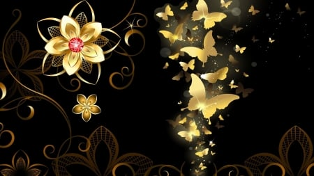Golden Butterflies 3d And Cg Amp Abstract Background