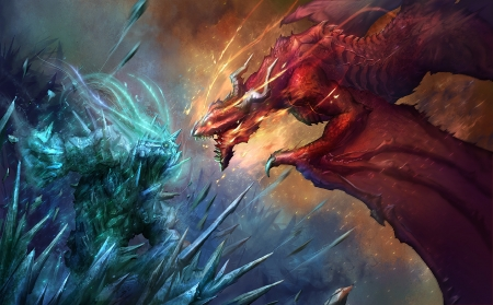 giant giant fire dragon vs ice dragon - photo #5
