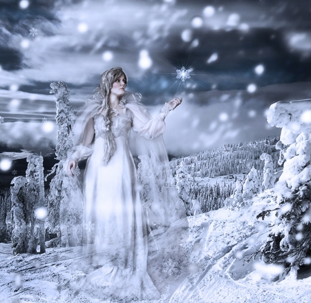 *Winter Lady* - forest, fantasy land, winter, snowland, winter lady, fantasy, fantasy girl, snow, snowflakes, lady