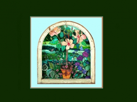 Pretty Stained Glass Window - potted plants, art, window, cg, stained glass, hibiscus, abstract, turquoise, 3d, green, wallpaper, painting, flower, aqua