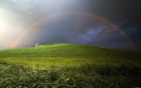 Rainbow over the green hill - hill, storm, hq, landscapes, grass, rainbows, green, Rainbow over the green hill, nature