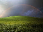Rainbow over the green hill