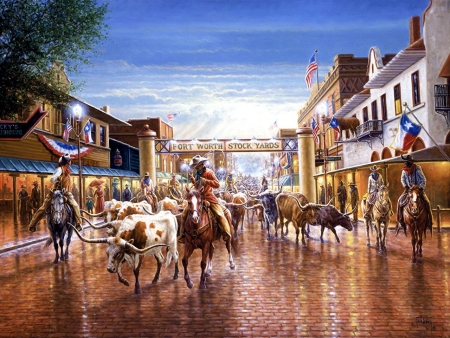 Fort Worth Stock Yards - bulls, houses, town, painting, artwork, horses, cowboys