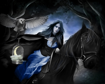 No other full moons without him... - owl, black, horse, woman, brunette, fantasy, moon, girl, half, cage, darkness, white
