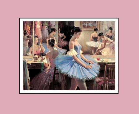 Dressing room  - pretty, charm, soft, theater, people, painting, ballet, dance, ballerinas