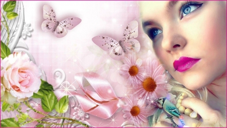 PINK BUTTERFLIES - FEMALE, BUTTERFLIES, PINK, BIRD, FACE, FLOWERS