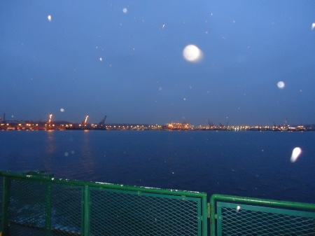 Snow Flurries by Seattle - water, ferry, snow, seattle, winter