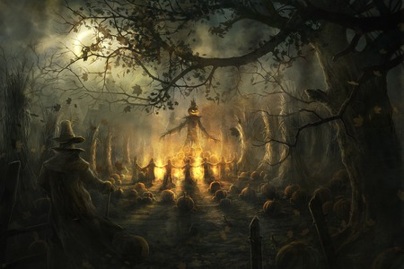 Halloween Pagan Ritual  - fire, night, pumpkin, scary, pagan ritual, halloween
