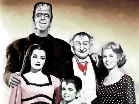 A Halloween family portrait - eddy, herman, 60s, the munsters, wallpaper, Entropy, lilly, marilyn, grandpa