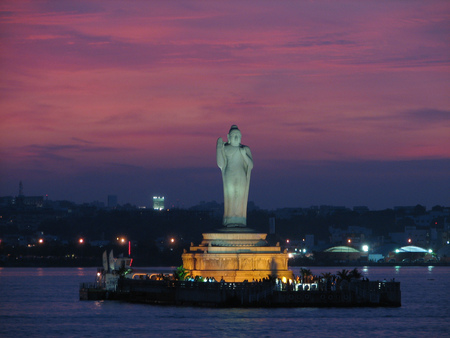 Buddha Statue, Hyderabad Lake ~ India - hyderabad, buddha, india, sunset, island, lake