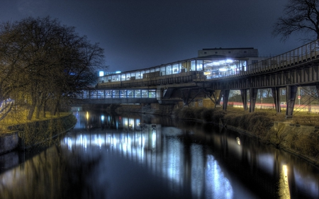 TRAIN STATION - lights, trees, station, river, track, train
