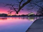 Jefferson memorial at beautiful sunset
