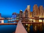 beautiful city docks at dusk