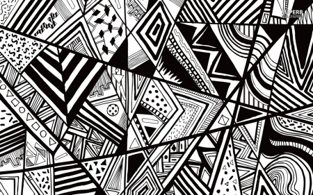 Black And White Doodling - Abstract, White, Pattern, Black