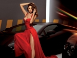 Model in Red Dress with Cars