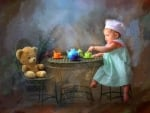 Little Girl Gives to Drink Tea Bear