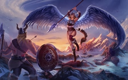 Valkyrie - art, wings, angel, shield, game, valkyrie, man, woman, fantasy, warrior, girl, helmet, fight, viking, feathers, blue