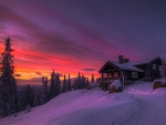 Winter Cottage At Sunset