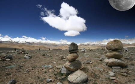 Moon over Tibet an plateau - HD, rocks, moon, clouds, landscape, stones, scene, photography, wallpaper, sky, abstract, field, nature