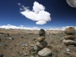 Moon over Tibet an plateau