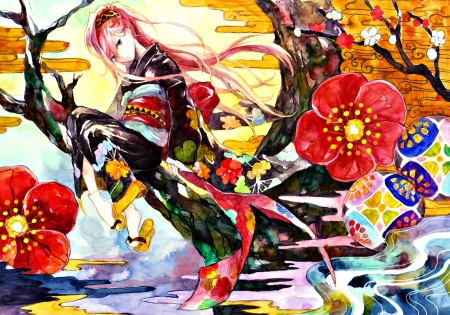 Megurine Luka - red, vocaloid, colorful, nayuko, yellow, spring, kimono, megurine luka, draw, girl, anime, flower, blue
