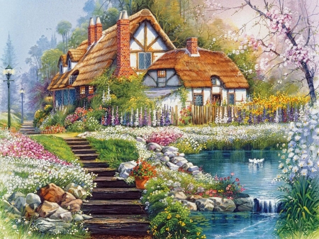 Flowers in garden - pretty, colorful, house, view, cottage, sweet home, home, beautiful, park, lake, stair, flower, color, garden