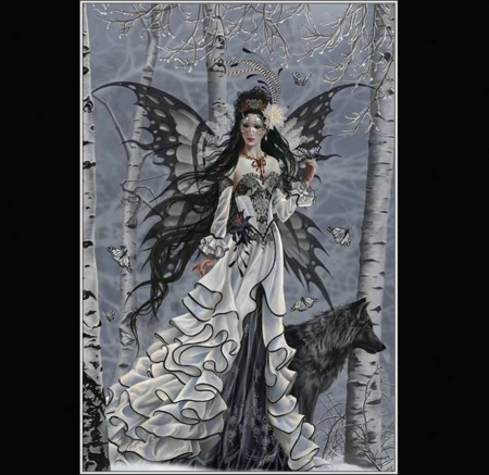 FAIRY~N~WOLF - DRESS, WINGS, FEMALE, WOLF, GOTHIC, FAIRY, FOREST