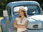 Cowgirl ~ Carmen Hart with a Vintage Ford Pickup