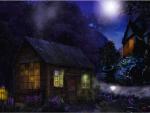 Chozas en la noche