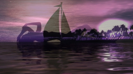 Dreams - boat, purple, sunset, lila, dream, woman, sea