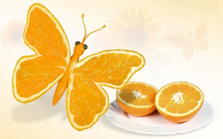 Orange Butterfly - fantasy, butterfly, orange, graphic design, color, abstract