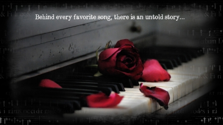 Music.... - red roses, rose, music, red flower, roses, piano, red rose, quote, flower, flowers