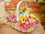 Flower basket and cake