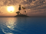 Tropical island in sunset
