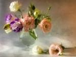Beautiful flowers arrangement in painting art