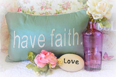 ..Love and Faith.. - lovely still life, pillow, chic, lovely, love four seasons, beautiful, peonies, love, flowers, nature, pink, faith