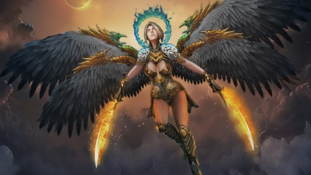 Angel Warrior - swords, warrior, wings, flames, angel
