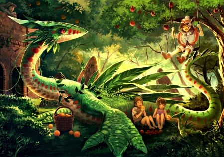 Dragon in the garden - forest, children, manga, eikura matti, dragon, tree, green, anime, garden