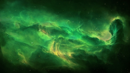 Echoes of the Void 2 - Tyler Creates Worlds - stars, gases, green, space, galaxies, 3D render
